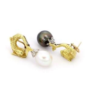 2.00ct Diamond Day & Night South Sea Pearls 18k Gold Fish Drop Earrings