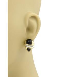 Black Starr & Frost 1.50ct Diamond Onyx 18k Yellow Gold Post Clip Earrings