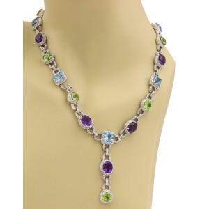 57185Estate 56.37ct Diamond Multicolor Gems 14k WGold Fancy Necklace w/Appraisal
