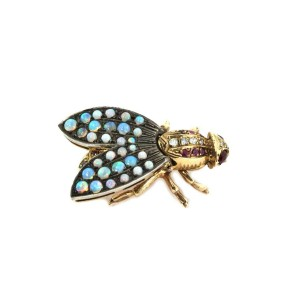 Art Deco Diamond & Opals 14k Yellow Gold Silver Large Bee Brooch