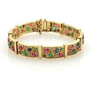 10.35ct Ruby Sapphire Emerald & Diamonds 14k Yellow Gold Bar Link Bracelet