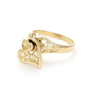 59405 - 14k Yellow Gold Fancy Filigree Spinner Heart Ring Size - 7.75