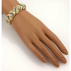 4.20ct Diamond 18k Yellow Gold Fancy Textured Link Bracelet