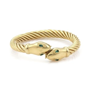 18k Yellow Gold & Emerald Double Snake Head 8mm Cable Flex Open Bracelet