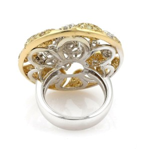 18k Gold 3.75ct Fancy Yellow & Rose Cut Diamond Floral Round Top Ring