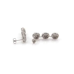 3.00 Carats Diamond 18k White Gold Triple Rosette Long Dangle Earrings