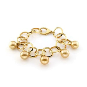 18k Yellow Gold 13mm South Seas Gold Pearl Charms Circle Link Bracelet