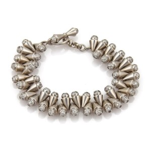 18k White Gold 4.20ct Diamond Double Row Cone Link Bracelet