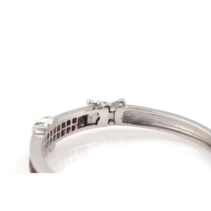 18k White Gold 4.65ct Diamond & Ruby X Design Bangle Bracelet