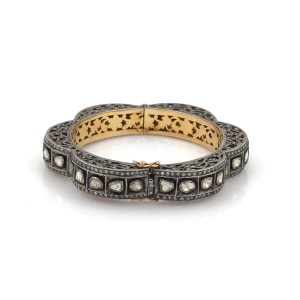 Art Deco Style 5.50ct Champagne Diamond 14k Gold & Silver Fancy Filigree Bangle