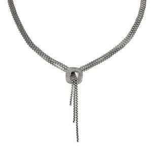 64553 David Yurman Diamond 925 Silver Square Pendant 3 Chain Lariat Necklace