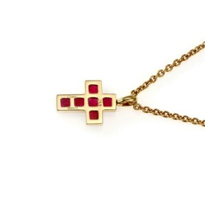 Cartier Ruby 18k Yellow Gold Cross Pendant & Chain With Certificate.