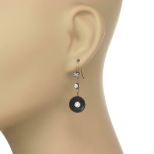 61389 Art Deco Old Mine Cut Diamond Onyx Button Shape Hook Dangle Earrings