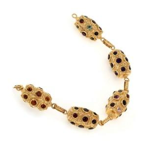 Estate Multicolor Gems 18k Yellow Gold Fancy Barrel Motif Link Bracelet