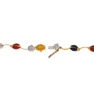 Aaron Basha Diamond Multicolor Enamel Lady Bug Floral 18k Gold Necklace