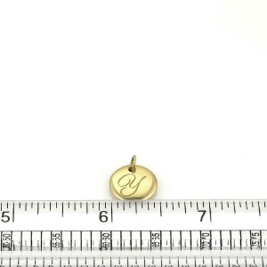 """Tiffany & Co. 18k Yellow Gold Letter """"Y"""" Round Pendant"""