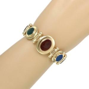 61416 Vintage Multicolor Gems Intaglio 14k Gold Reversible Oval Link Bracelet