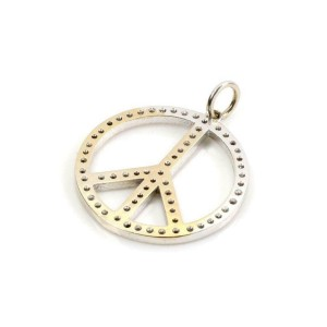 14k White Gold Diamond PEACE Pendant 22mm Diameter