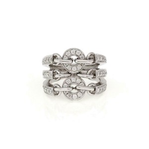 Bvlgari Bulgari Astra Lechera Diamond 18k White gold Fancy Triple Row Band Ring