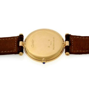 Cartier Vendome 18k Yellow Gold Leather Men's Watch Leather Band Service paper
