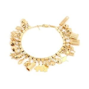 """14k Yellow Gold 28 Assorted Shape & Size Dangling Charms Chain Bracelet 7.25""""L"""