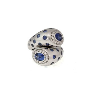Leo Pizzo 4.5ct Diamond Sapphire 18k White Gold Large Bypass Ring Size 7