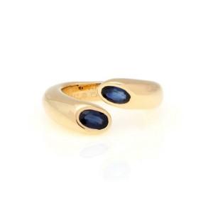 Cartier Ellipse Deux Tetes Croisees 1.20ct Sapphire 18k Gold Ring Size 50