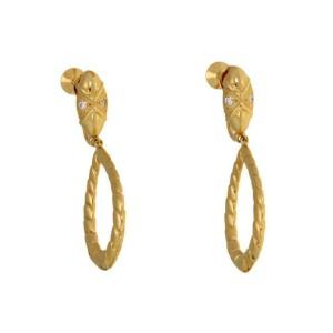 Mikimoto Diamond 18k Yellow Gold Fancy Hoop Screw Back Dangle Earrings