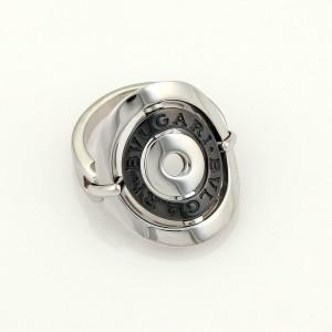 Bvlgari Bulgari Astral Cerchi 18k White Gold Steel Flex Oval Ring Size 6