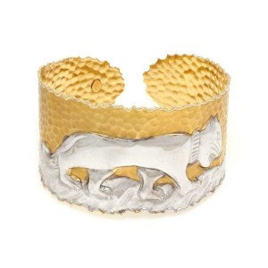 "Beautiful 14k Two Tone Gold 1.75"" Wide Panther Cuff Bracelet"