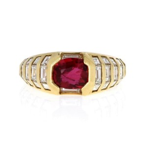 -18k Yellow Gold 2.53ct Diamond & Ruby Cocktail Ring Size - 6.5
