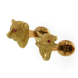 18k Yellow Gold Ruby Bull & Bear Stock Market 3D Symbol Stud Cufflinks