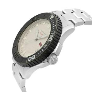 Gucci G-Timeless Silver Checkered Dial Steel Plastic Mens Quartz Watch YA126250