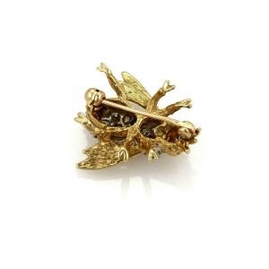 Vintage Diamond & Emerald 14k Yellow Gold Bee Brooch Pin