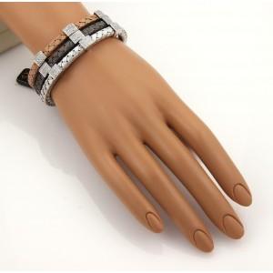 Designer Elite 1.35ct Diamonds 18k Tri-Color Gold Set of 3 Woven Bangles