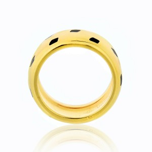 Cartier 18K Yellow Gold Panthere Black Lacquer Ring Size 54 US 7