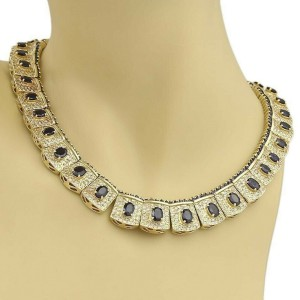 Estate 42ct Sapphire & Diamond 14k Yellow Gold Section Link Necklace -110 gr
