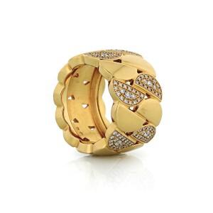 "Cartier ""La Dona"" 18K Yellow Gold Diamond Ring 1.50cttw Size 52 US 6"