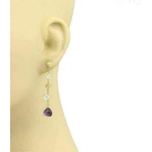 Amethyst Blue Topaz Bead 18k Rose Gold Dangle Earrings