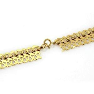 Vintage Fancy Open Floral Drape 18k Yellow Gold Necklace