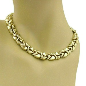 Fancy Design 13.5mm Wide 14k Yellow Gold Collar Necklace - Fits Small Neck 14""