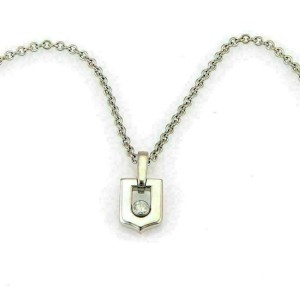 Cartier Diamond 18k White Gold Logo Pendant w/Service Paper