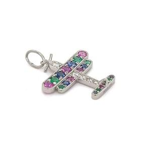 Tiffany & Co. Diamond Multi-Color Gems Platinum Airplane Charm Pendant
