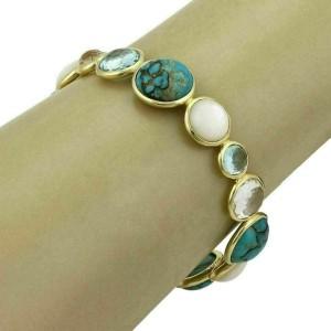 Ippolita Rock Candy Gemstone 18k Yellow Gold Bead Bangle Bracelet