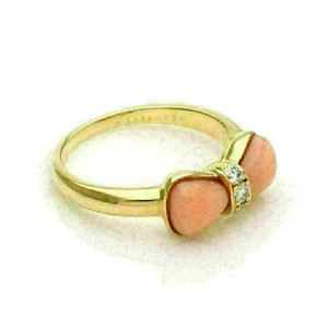 Van Cleef & Arpels Coral & Diamond 18k Yellow Gold Bow Design Ring w/Paper.