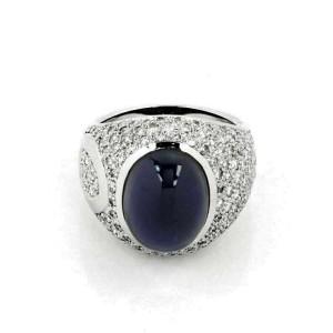 Antonini Diamond & Onyx 18k White Gold Dome Band Ring