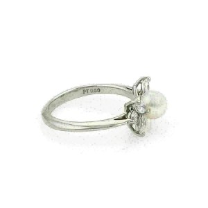 Tiffany & Co. Diamond Pearl Platinum Floral Band Ring