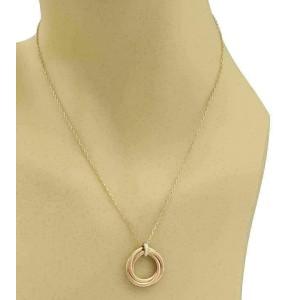 Cartier Trinity Diamond 18k Rose Gold 3 Ring Pendant w/Cert