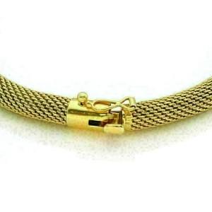Coral Snake Mesh Tube 18k Yellow Gold Flex Bracelet