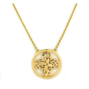 Louis Vuitton Resille Monogram Floral Round 18k Yellow Gold Pendant Necklace